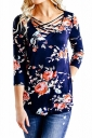 Womens Sexy Lace Up 3/4 Length Sleeve Flower Printed Blouse Navy Blue