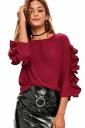 Womens Fashion Ruffled Sleeve Crew Neck Plain T-Shirt Ruby