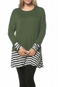 Womens Crew Neck Long Sleeve Stripes Loose Hem T-Shirt Army Green