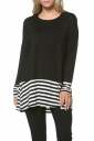 Womens Crew Neck Long Sleeve Stripes Loose Hem T-Shirt Black
