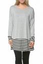 Womens Crew Neck Long Sleeve Stripes Loose Hem T-Shirt Gray