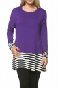 Womens Crew Neck Long Sleeve Stripes Loose Hem T-Shirt Purple