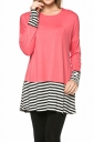 Womens Crew Neck Long Sleeve Stripes Loose Hem T-Shirt Watermelon Red