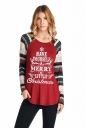 Women Long Sleeve Christmas Letter And Stripe Printed T-Shirt Dark Red