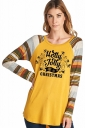Womens Long Sleeve Christmas Letters And Stripe Printed T-Shirt Ginger
