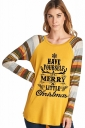 Womens Long Sleeve Christmas Letters And Stripes Printed T-Shirt