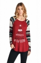 Womens Long Sleeve Christmas Letters And Stripes Printed T-Shirt Red