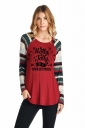 Womens Long Sleeve Christmas Letters And Stripes Printed T-Shirt Ruby
