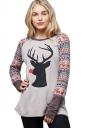 Womens Crew Neck Long Sleeve Christmas Reindeer Printed T-Shirt Gray