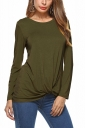 Womens Knotted Tie Long Sleeve Crew Neck Plain T-Shirt Army Green