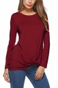 Womens Knotted Tie Long Sleeve Crew Neck Plain T-Shirt Ruby