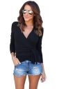 Womens Sexy V-Neck Bandage Bow Long Sleeve Plain T-Shirt Black