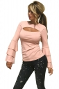Womens Sexy Bell Sleeve Open Bra Crew Neck Plain T-Shirt Pink