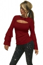Womens Sexy Bell Sleeve Open Bra Crew Neck Plain T-Shirt Ruby
