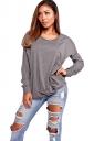Womens Oversized Hooded Long Sleeve Crew Neck Plain T-Shirt Gray