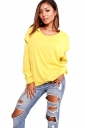Womens Oversized Hooded Long Sleeve Crew Neck Plain T-Shirt Yellow