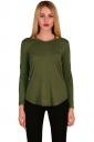 Womens Crew Neck Asymmetrical Hem Long Sleeve Plain T-Shirt Army Green