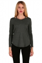 Womens Crew Neck Asymmetrical Hem Long Sleeve Plain T-Shirt Dark Gray