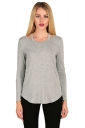 Womens Crew Neck Asymmetrical Hem Long Sleeve Plain T-Shirt Light Gray
