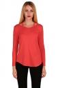 Womens Crew Neck Asymmetrical Hem Long Sleeve T-Shirt Watermelon Red