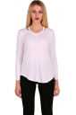 Womens Crew Neck Asymmetrical Hem Long Sleeve Plain T-Shirt White