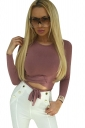 Womens Sexy Lace Up Long Sleeve Crew Neck Plain Crop Top Pink