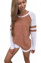 Womens Contrast Color Long Sleeve Stripes Printed T-Shirt Brown