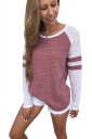 Womens Contrast Color Long Sleeve Stripes Printed T-Shirt Dark Red