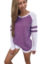 Womens Contrast Color Long Sleeve Stripes Printed T-Shirt Purple