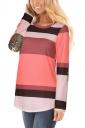 Womens Contrast Color Asymmetrical Hem Long Sleeve T-Shirt Pink