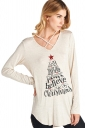 Women Lace Up V-Neck Long Sleeve Christmas Printed T-Shirt Beige White