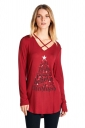 Womens Lace Up V-Neck Long Sleeve Christmas Printed T-Shirt Red