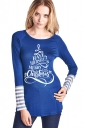 Womens Crew Neck Long Sleeve Stripes Printed Christmas T-Shirt Blue