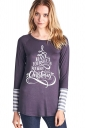Womens Crew Neck Long Sleeve Stripes Printed Christmas T-Shirt Gray