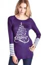 Womens Crew Neck Long Sleeve Stripes Printed Christmas T-Shirt Purple
