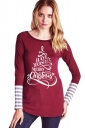 Womens Crew Neck Long Sleeve Stripes Printed Christmas T-Shirt Ruby