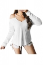 Womens Sexy V-Neck Cold Shoulder Long Sleeve Plain Camisole Top White