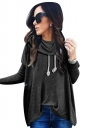 Womens Cowl Neck Long Sleeve Drawstring Plain T-Shirt Black