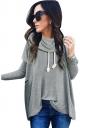 Womens Cowl Neck Long Sleeve Drawstring Plain T-Shirt Gray