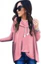 Womens Cowl Neck Long Sleeve Drawstring Plain T-Shirt Pink