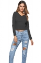 Womens Sexy V-Neck Lace Up Long Sleeve Plain Crop Top Black