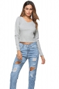 Womens Sexy V-Neck Lace Up Long Sleeve Plain Crop Top Gray
