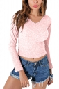 Womens Sexy V-Neck Lace Up Long Sleeve Plain Crop Top Pink