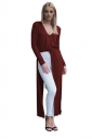Womens Sexy V-Neck Slit Long Sleeve Maxi Length Plain Blouse Ruby