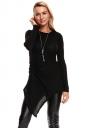 Womens Knotted Tie Long Sleeve Asymmetrical Hem Plain Blouse Black
