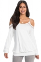 Womens Sexy Cold Shoulder Long Sleeve Lace Plain Camisole Top White