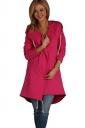 Womens Drawstring Slant Pockets Hooded Plain Wool Coat Rose Red