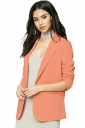 Womens Elegant Turndown Collar Pockets Midi Length Blazer Orange Red