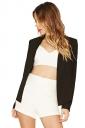 Womens Trendy Long Sleeve Shoulder Pads Plain Blazer Black