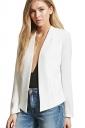 Womens Trendy Long Sleeve Shoulder Pads Plain Blazer White